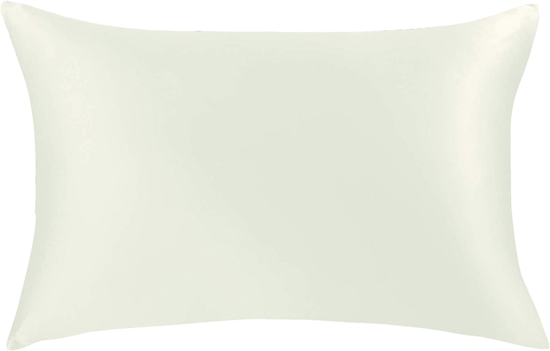 JASMINE SILK 100% Silk Pillowcase Funda de Almohada de Seda, de 50x75 cm Marfil