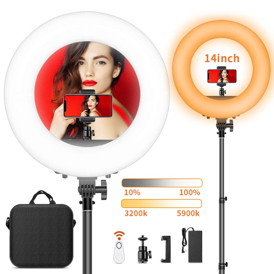 Circle Ring Light for Makeup Video Filming Salon LED Ring Light with Stand FOSITAN 13.6 inch Outer Dimmable YouTube Light 3200K-5900K Bi-Color Halo Light Ring with Phone Holder for Phone and Camera