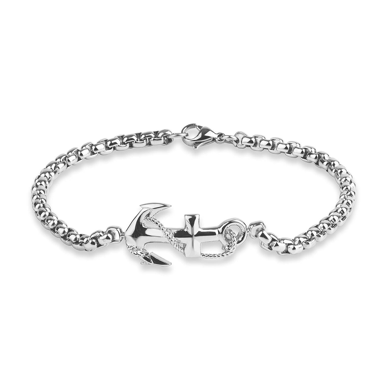 "Men's Stainless Steel Anchor Sideways Bracelet, 8.5"""