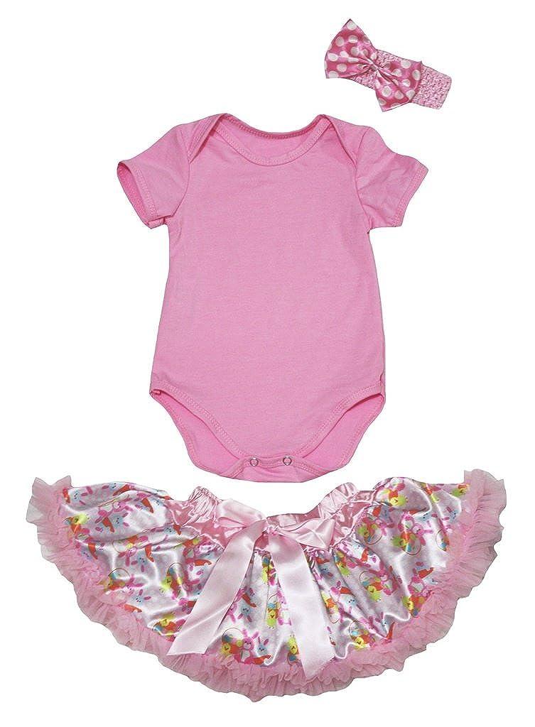 Petitebella Plain Pink Romper Pink Easter Rabbits Baby Skirt Nb-12m