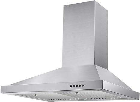 Tieasy - Campana de escape de cocina con conductos de 350 CFM, ventilador de 3 velocidades, acero inoxidable, luz LED: Amazon.es: Grandes electrodomésticos