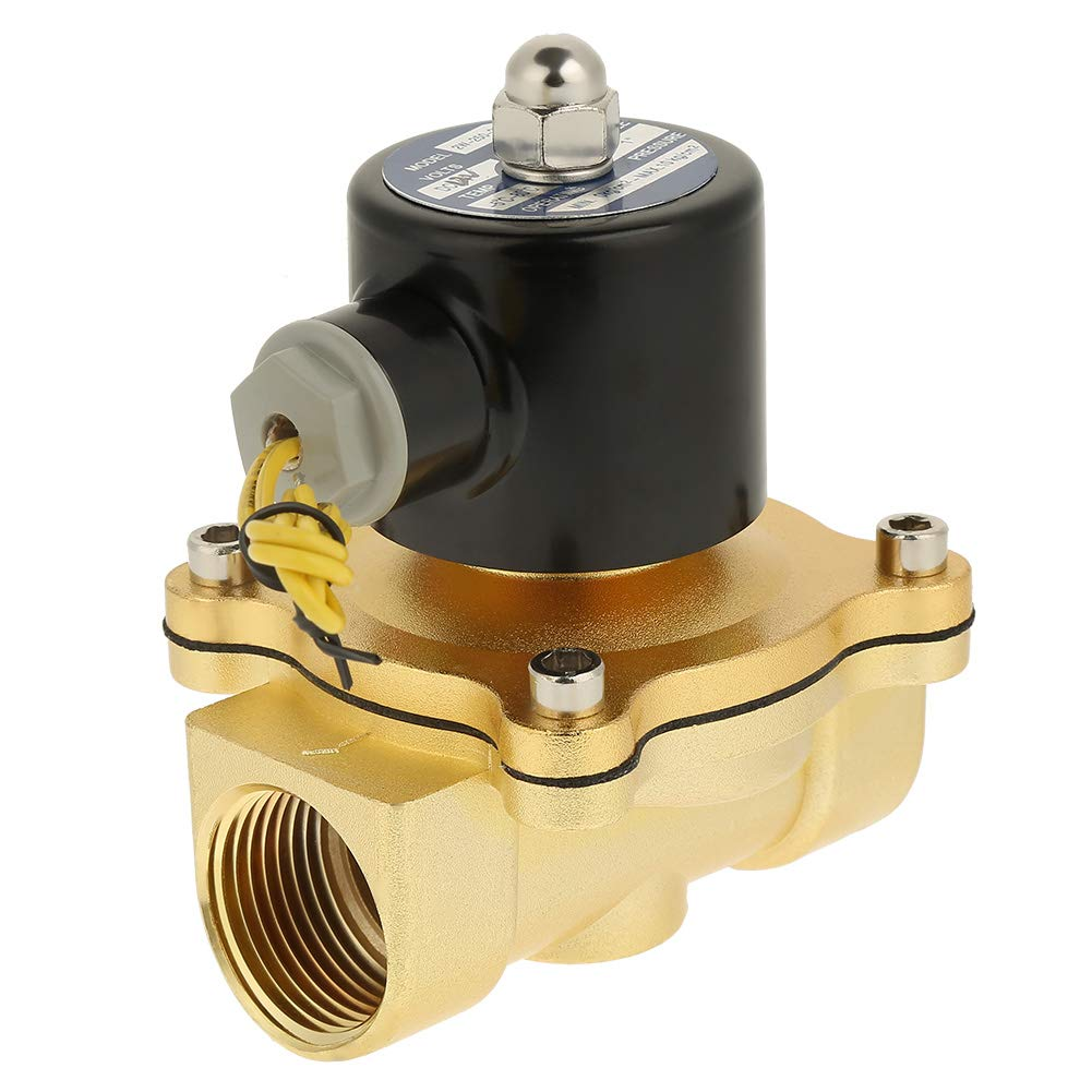 Válvula solenoide de latón, CC 12 V 1 pulgada Válvula solenoide de interruptor de control de agua normalmente cerrada, de 2 vías, 2 vías, latón para control de flujo de líquidos