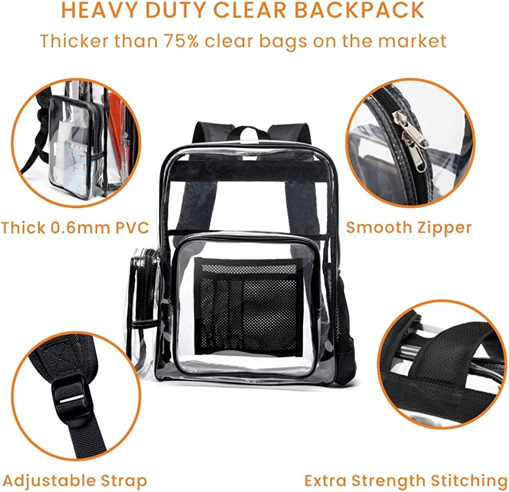 Cambond Heavy Duty Transparent Backpacks with Reinforced Straps Clear Backpack