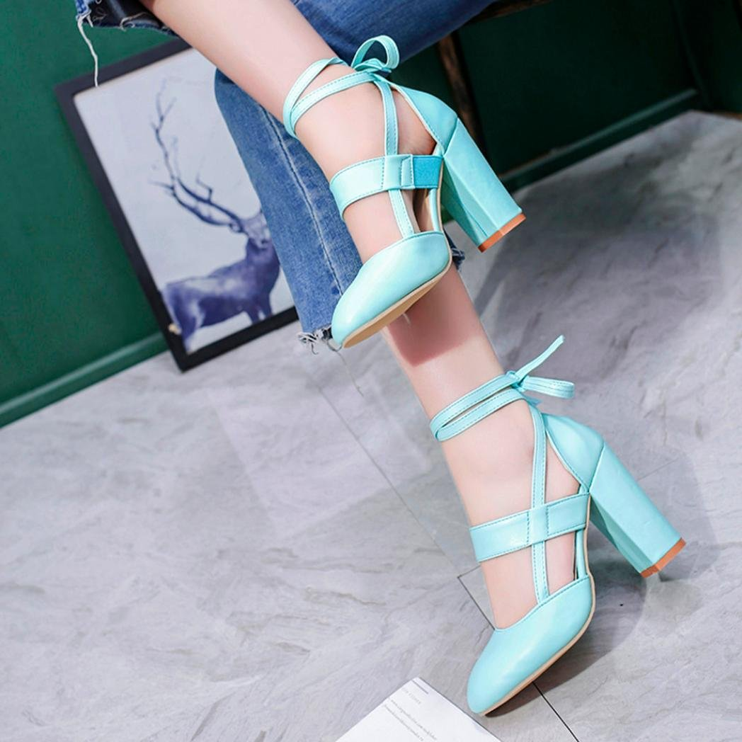 LtrottedJ Women's Fashion Heeled Sandals Ankle Strap Dress Sandals for Party Wedding (37, Blue) by LtrottedJ (Image #4)