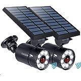 Solar Motion Sensor Light Outdoor of 2, 1400-Lumen 9-Watt(110W Equ.) LED Spotlight, Aluminum Solar Flood Security…