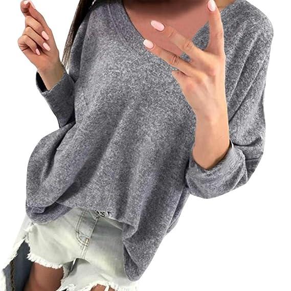 Mujer Camiseta con Mangas Largas Cuello V Camisa Botón Blusa Jumper Pullover Sudadera Remata T-
