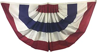 product image for Gettysburg Flag Works 3x6'Patriotic Red White Blue Pleated Fan Decorative Bunting, Printed Cotton, 5 Stripes, for Outdoor Decoration Use, Made in USA