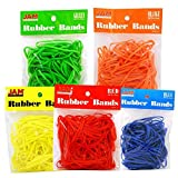 (US) JAM Paper® Rubber Bands - Assorted Colorful Rubber Bands - 100 per Pack - 5 Colored Packs (500 bands Total)