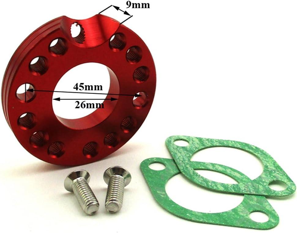 stoneder rot CNC Aluminium 26/mm Carb Vergaser mannigfaltigkeit Spinner Teller Adapter mit Dichtungen Schrauben f/ür Monkey Dax Pit Dirt Bike ATV Quad 4/Wheeler