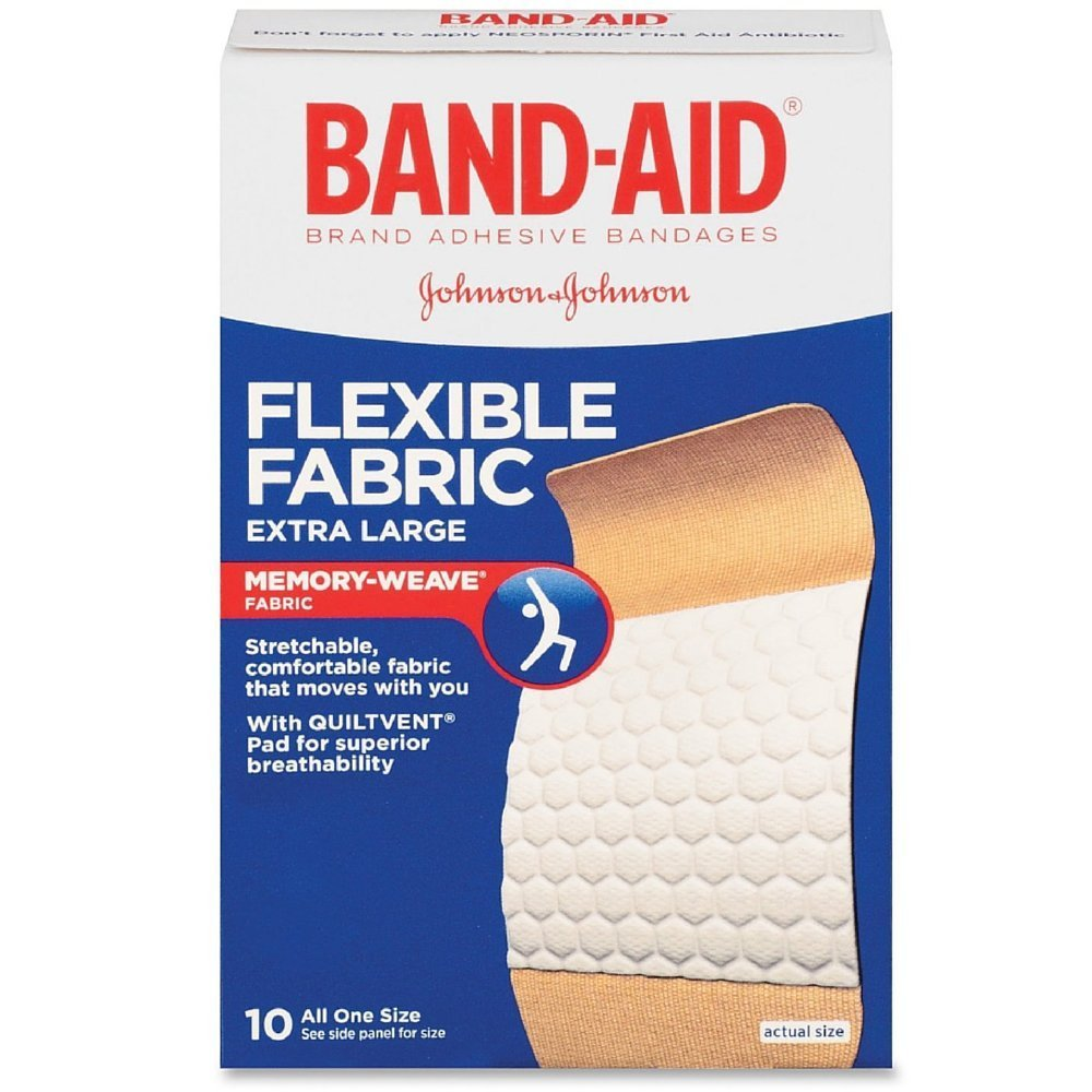 BAND-AID Flexible Fabric Bandages, Extra Large 10 ea (Pack of 6) by Band-Aid