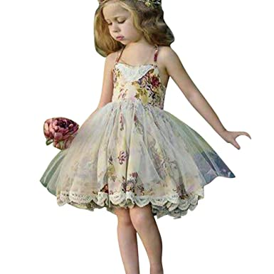 419c0a025 Hibote Girls Floral Print Lace Dress - 2017 Summer Harness Sling Skirt  Princess Dresses for Toddlers Kids 2-7 Years Old - by: Amazon.co.uk:  Clothing