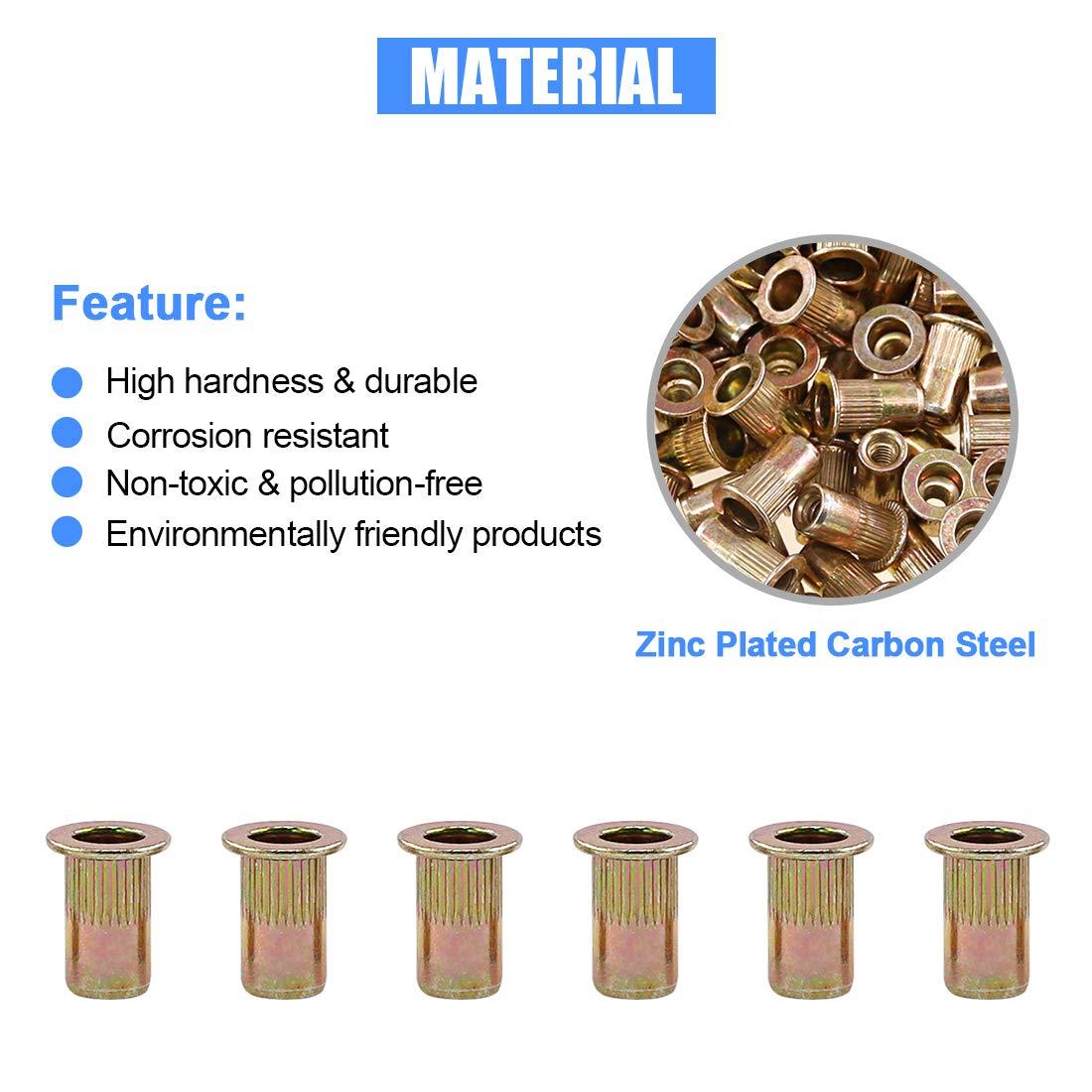 5//32-32UNC Glarks 100Pcs 5//32-32UNC Zinc Plated Carbon Steel Flat Head Rivnut Threaded Insert Nuts Set