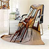 YOYI-HOME Digital Printing Duplex Printed Blanket Round Room with Piano and Lots of Windows Classic Architecture Furnished Family Room Summer Quilt Comforter /W47 x H59