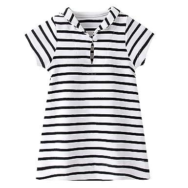 dfd859c7450 ZHUANNIAN Rayée Robe de Bébé Fille Coton Manche Courte T-Shirt Robe ...