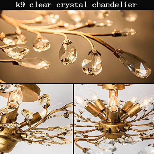 Light Fixtures Uae: Garwarm 4-Light Vintage Crystal Chandeliers Ceiling Lights