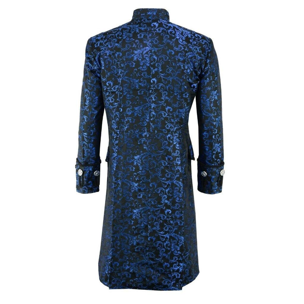Men Steampunk Vintage Jacket Halloween Costume Gothic Frock Uniform Coat Long Sleeve Medieval Costume(Blue,XXL)