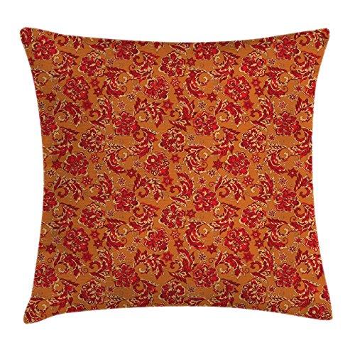 Lunarable Batik Throw Pillow Cushion Cover, Nostalgic Western European Medieval Renaissance Inspired Eastern Bohemian Pattern, Decorative Square Accent Pillow Case, 28 X 28 Inches, Red Orange