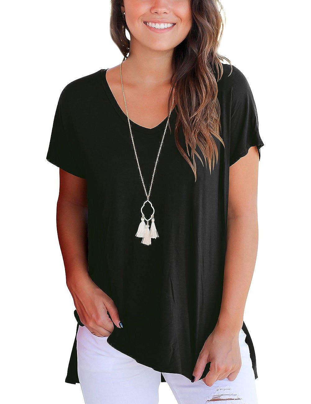 4bc132d83 Dasbayla Women's Solid Loose Short Sleeve V Neck T-Shirt Top Side Split High  Low Hem: Amazon.co.uk: Clothing