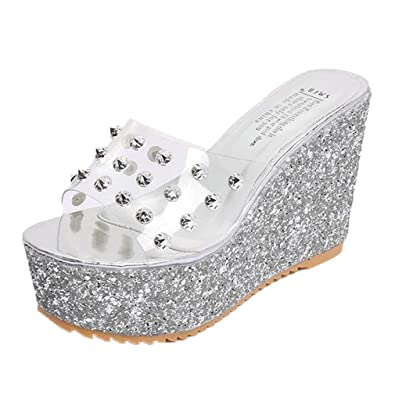 8fd8ac4d62e ❉Sandales Compensées Femmes Tongs Sandales Chaussures Compensées Chaussures  De Plage Mules Chausson Pantoufles Été Plateforme