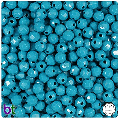 (BeadTin Dark Turquoise Opaque 6mm Faceted Round Craft Beads (750pcs))