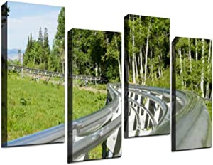 Gisas Enall 4 Piece Canvas Wall Art-Mountain Roller Coaster Track Close Up-Art Painting Posters Pictures Print Home Decor Modern Artwork for Living Room Bedroom 12x31.5inx4pcs