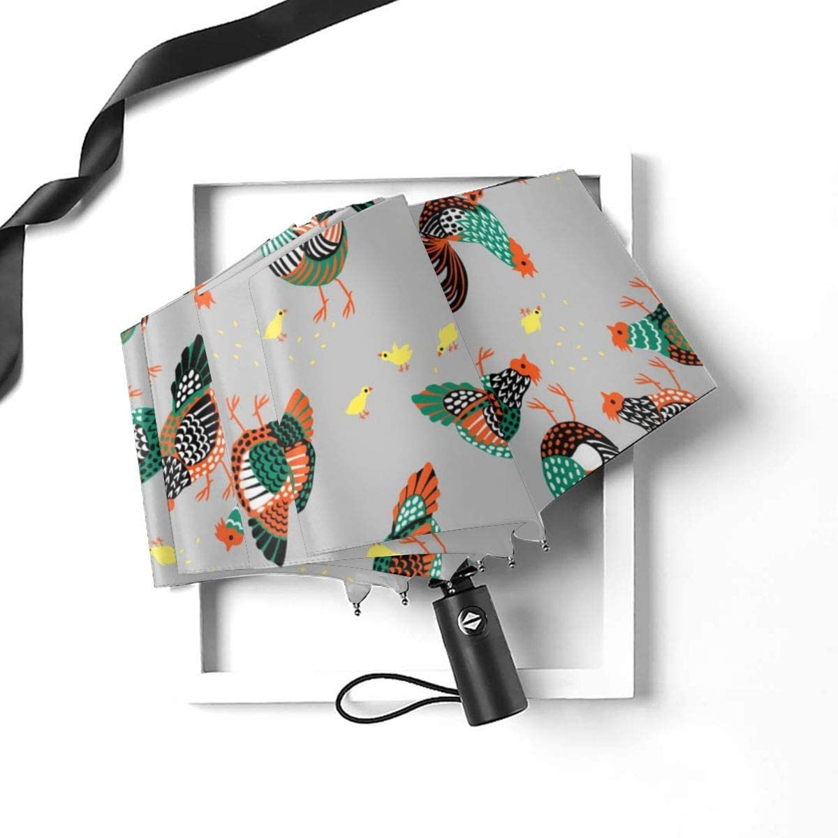 Chickens Pattern Automatic Open Folding Compact Travel Umbrellas For Women