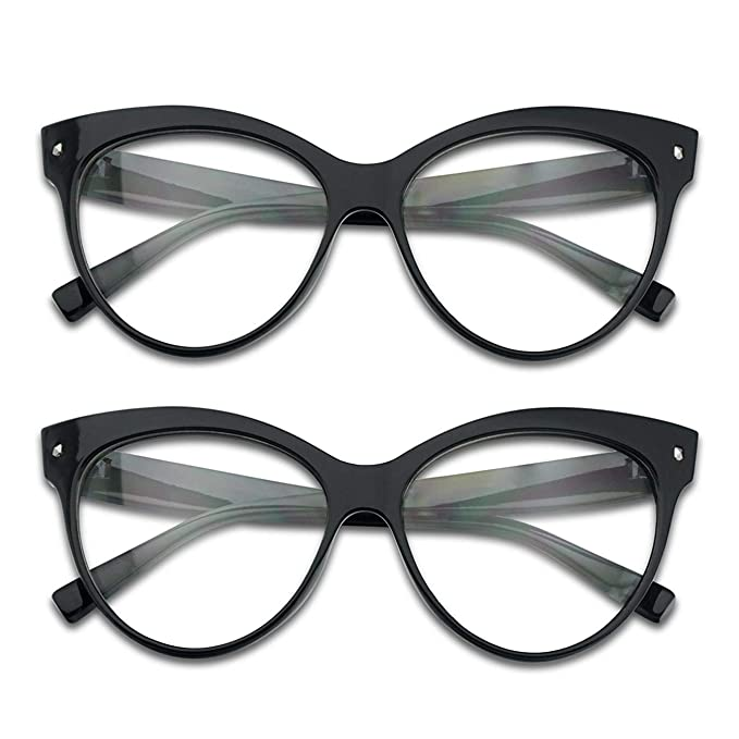 7a175baa1 SunglassUP Non Prescription Oversize Vintage MOD Cat Eye Clear Lens Glasses  for Women