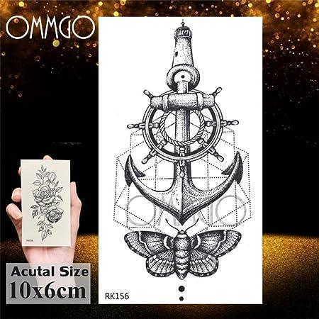 tzxdbh Hot 3D Black Flower Rose Tattoos For Girls Women Tattoo ...