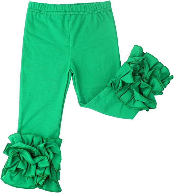 Slowera Little Girls Ruffle Leggings Baby Toddler Solid Color Flower Pants Green, XL: 5-6 Years