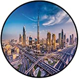 Printing Round Rug,City,Panoramic View of Dubai Arabian Cityscape High Rise Buildings Traffic Roads Mat Non-Slip Soft Entrance Mat Door Floor Rug Area Rug For Chair Living Room,Blue Ivory Marigold