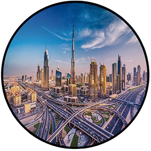 Printing Round Rug,City,Panoramic View of Dubai Arabian Cityscape High Rise Buildings Traffic Roads Mat Non-Slip Soft Entrance Mat Door Floor Rug Area Rug For Chair Living Room,Blue Ivory Marigold by iPrint