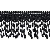 5 Yards Lace Trim with Tassel, 8cm wide, Black, DIY Sewing Applique Craft