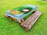 Lunarable Girl Scouts Outdoor Tablecloth, Cartoon Girl Beside The Bonfire Happy Camper Illustration Summer Activities, Decorative Washable Picnic Table Cloth, 58 X 84 inches, Multicolor