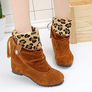 SUKEQ Damen Stiefel mit Keilabsatz, modisch, Wildleder