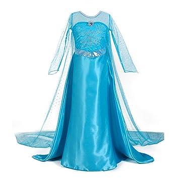 JZK Vestido largo azul traje de reina hielo vestido Elsa princesa vestido niña para fiesta temática