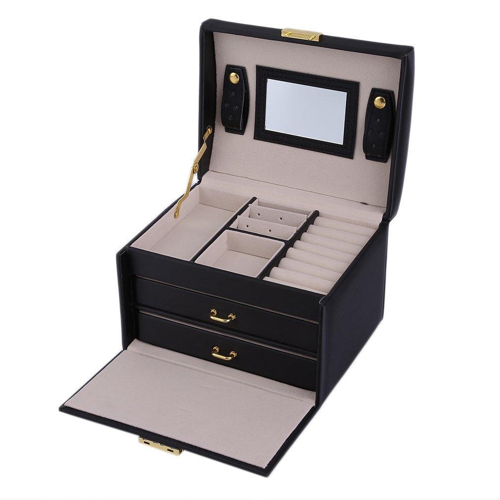 Jewelry Box - Portagioie da scrivania, con 2 cassetti, organizer per orecchini, collane, orologi orologi e Palladio colore: bianco cod. 2 Hifeel