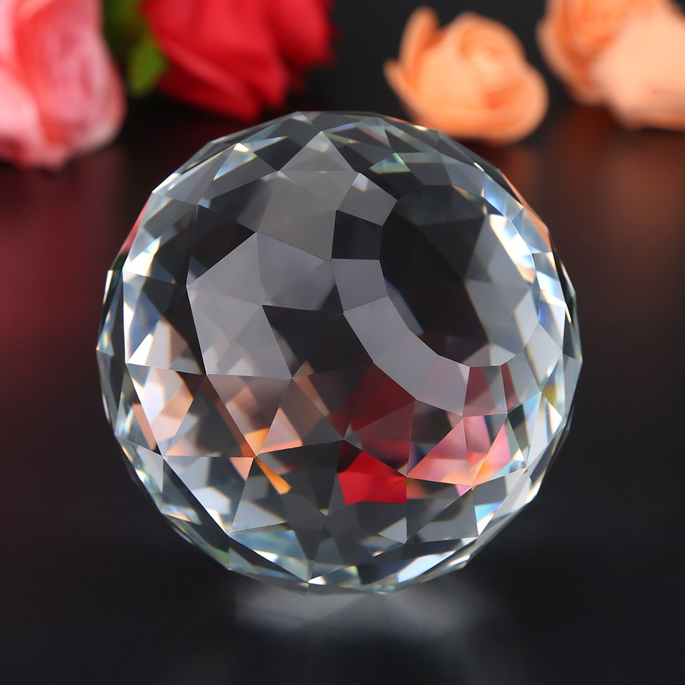 1Pc 60/80mm Clear Cut Crystal Prisms Glass Ball Home Hotel Decor Hardware Fittings Hot (80MM/3.15in)