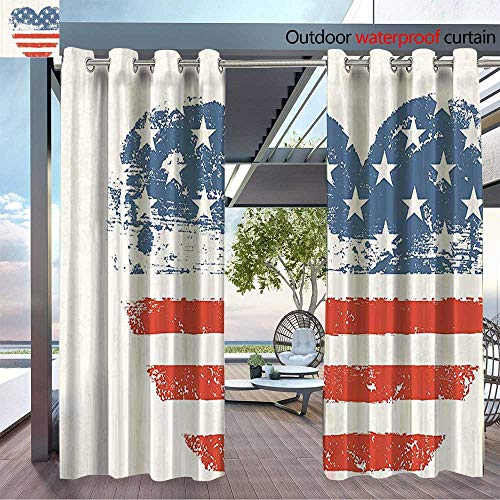 DESPKON The Shade Block Ultraviolet Patriotic American USA Flag Heart Shaped Stars and Stripes Antiqued Inspiratial Suitable for Outdoor、Open-air Wedding W96 x L84 INCH