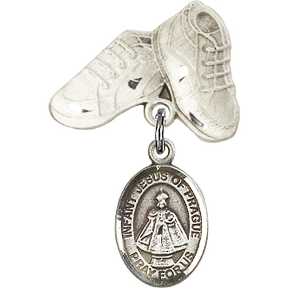 Sterling Silver Baby Badge with Infant of Prague Charm and Baby Boots Pin 1 X 5/8 inches