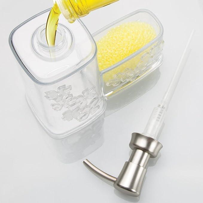 mDesign - Bomba dosificadora de jabón líquido, con organizador lateral para esponja o estropajo; para cocina - Claro: Amazon.es: Hogar