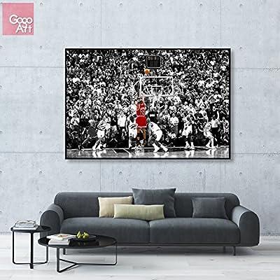GoGoArt STRETCHED FRAMED (not oil painting) Canvas print wall art home decoration picture photo huge big wide poster modern Michael Jordan nba sport Chicago bulls mvp 1998 last shot A-0015-1.5