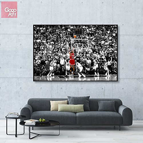 - GoGoArt ROLL Canvas print wall art home decor picture photo big poster abstract modern (no framed no stretched not oil painting) 1998 Michael Jordan Last Shot nba sport Chicago bulls mvp A-0015-1.5