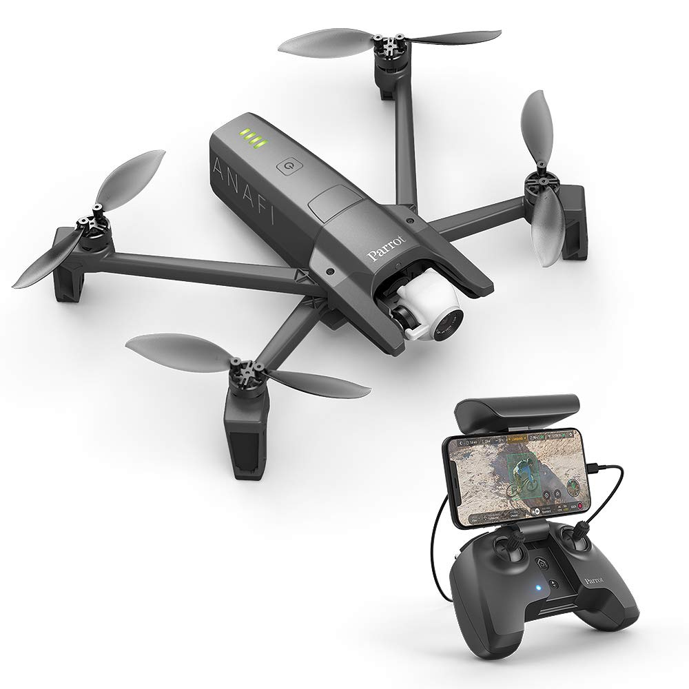Parrot PF728000 Anafi Drone, Foldable Quadcopter Drone with 4K HDR Camera, Compact, Silent & Autonomous, Realize Your shots with A 180° Vertical Swivel Camera, Dark Grey by Parrot