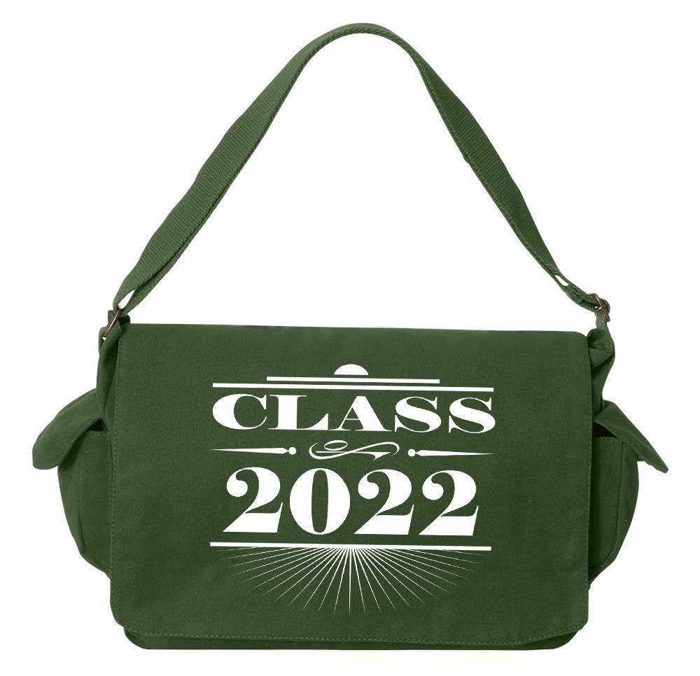 Tenacitee Art Deco Class of 2022 Khaki Green Raw Edge Canvas Messenger Bag