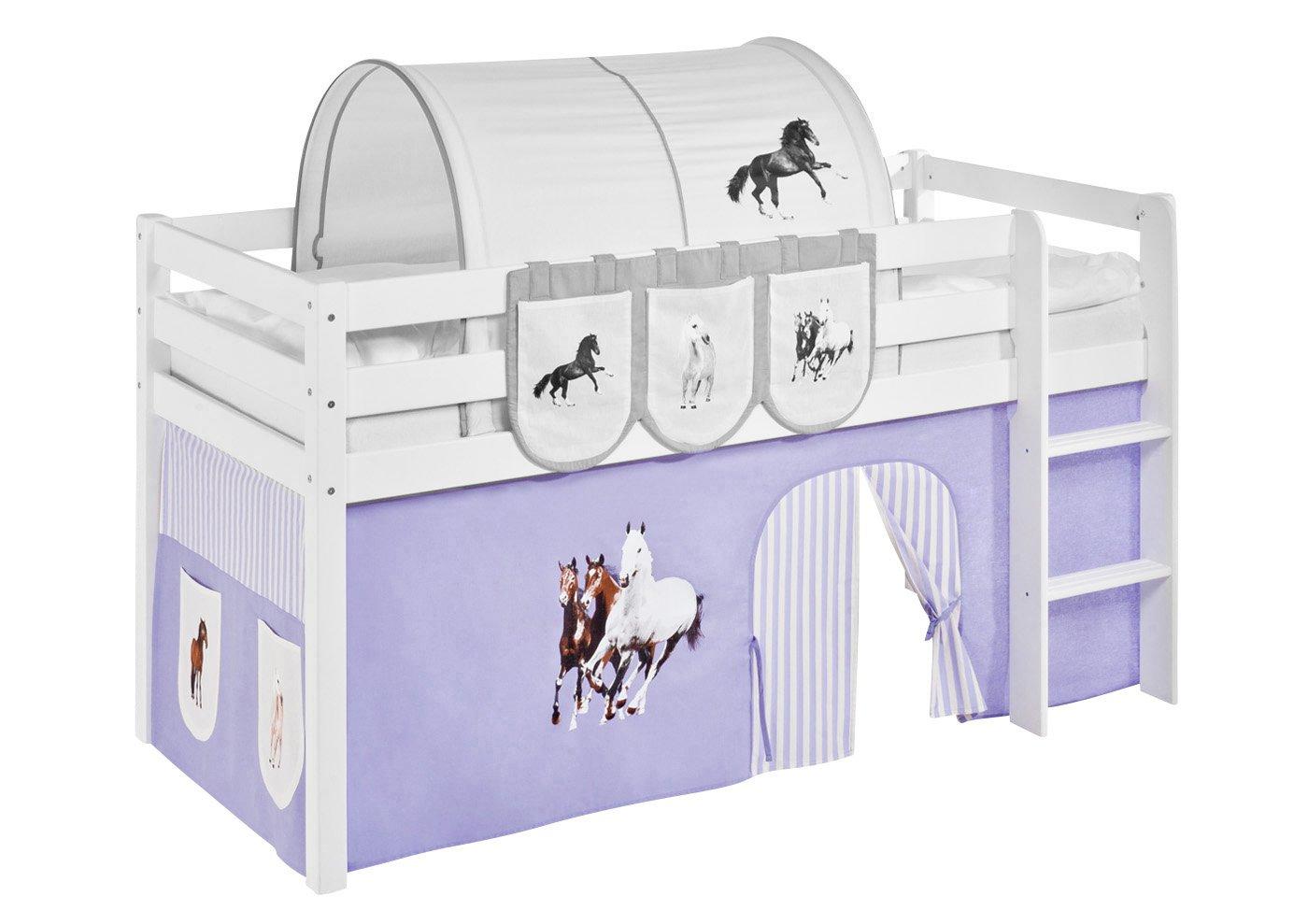 Vorhang Pferde Lila Beige - für Hochbett, Etagenbett Spielbett und Etagenbett Hochbett, 4c8522