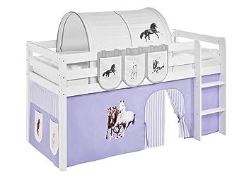 Vorhang Set Etagenbett : Vorhang pferde lila beige für hochbett spielbett und etagenbett
