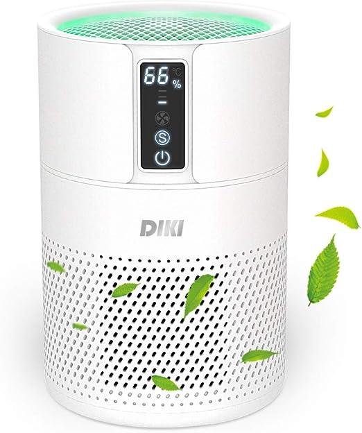 Purificador de aire Anion, DIKI filtro de aire HEPA inteligente con indicador de temperatura y humedad, ultra silenciosos, filtro de carbón activo, elimina 99.97% de humo alérgenos polvo: Amazon.es: Hogar