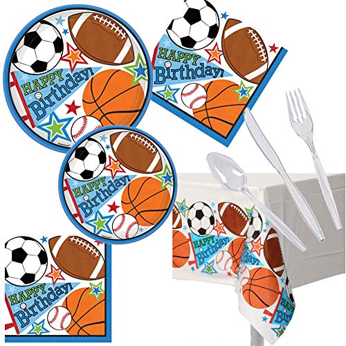 Football Soccer Basketball Baseball Sports Birthday Party Pack Set Serves 16 - Luncheon & Dessert Paper Plates, Napkins & Cutlery - Disposable Party Supplies for Food and Cake -