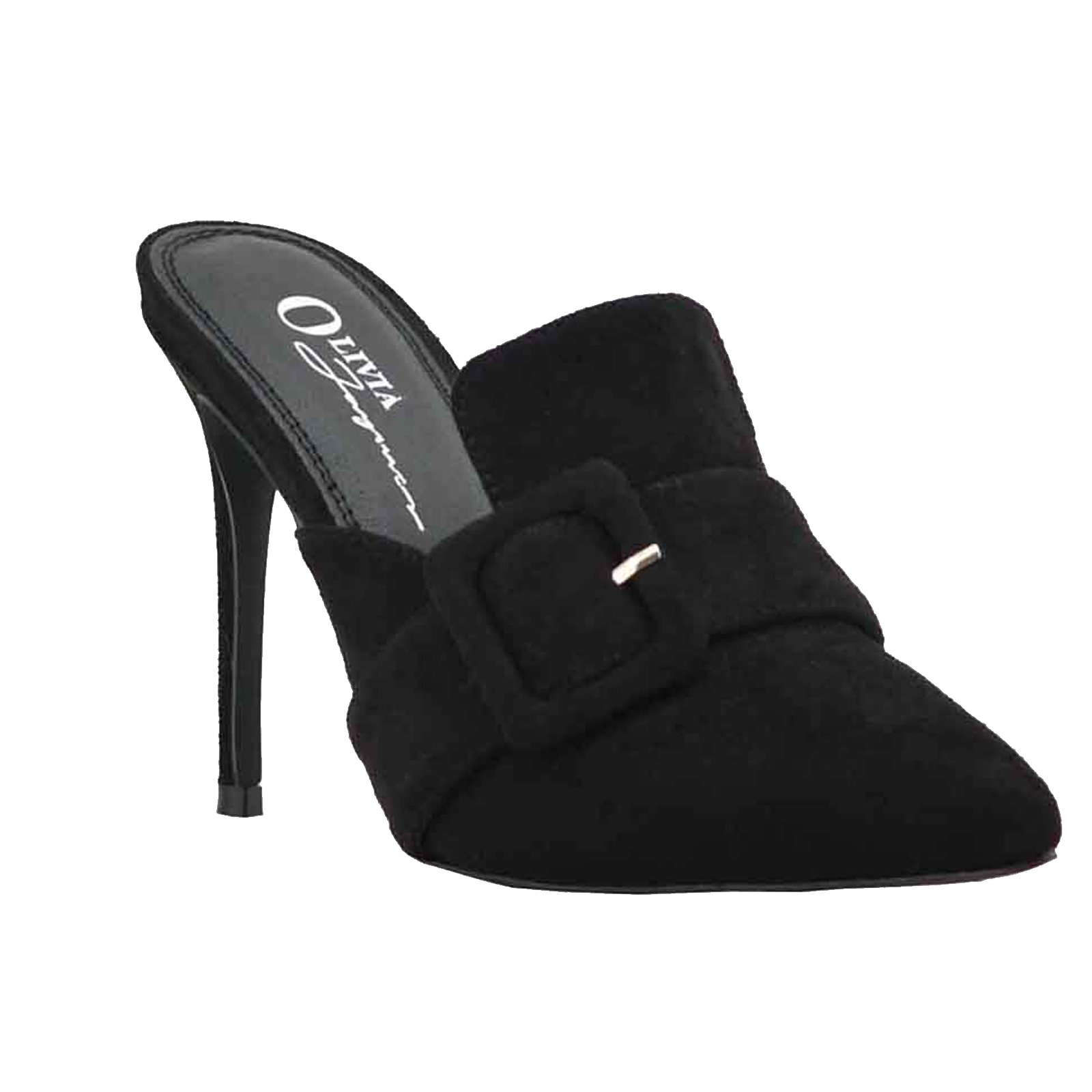 Women Casual Sandals Close Toe One Band Buckle Mule Slide Heeled Shoes (7.5, Black)