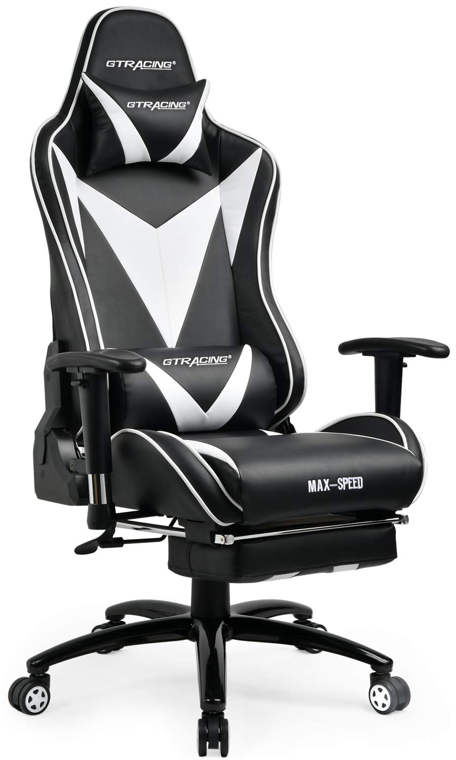 GTRACING Gaming Desk Chair with Footrest Ergonomic Racing High Back Swivel Adjustable Headrest and Lumbar Support Recliner Napping Chair GT004 Black/White